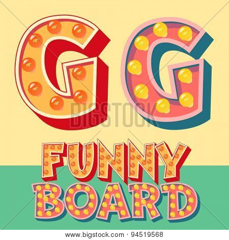 Bright funny comic vector lamp alphabet. Letter G
