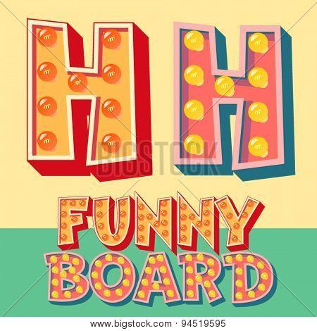 Bright funny comic vector lamp alphabet. Letter H