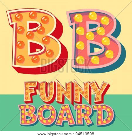 Bright funny comic vector lamp alphabet. Letter B