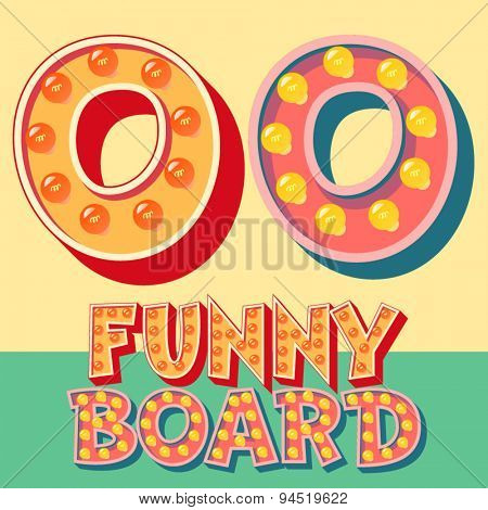 Bright funny comic vector lamp alphabet. Letter O