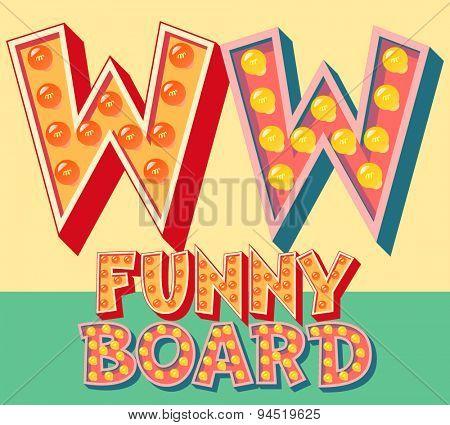 Bright funny comic vector lamp alphabet. Letter W