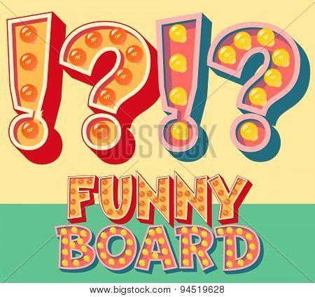 Bright funny comic vector lamp alphabet. Symbol 4