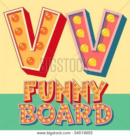 Bright funny comic vector lamp alphabet. Letter V