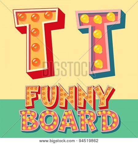 Bright funny comic vector lamp alphabet. Letter T