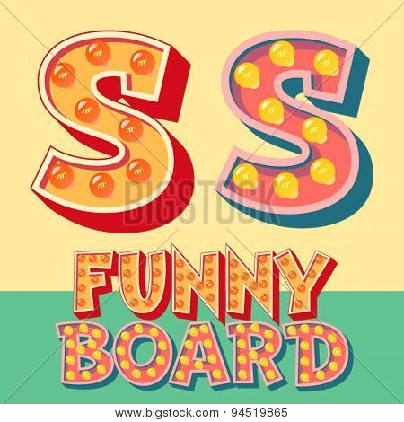 Bright funny comic vector lamp alphabet. Letter S