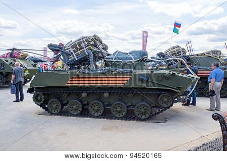 Russian airborne infantry fighting vehicle BMD-2 prepared for landing from an aircraft