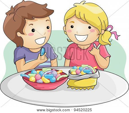 Illustration of Little Kids Eating Gummy Candies