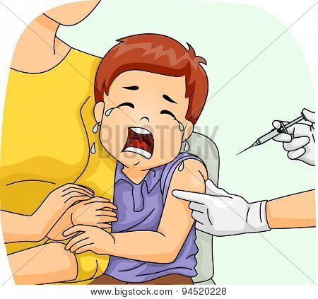 Illustration of a Scared Boy Crying Loudly as He is About to Get His Shot