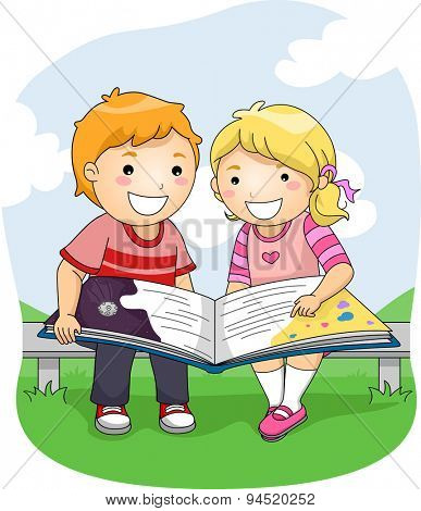 Illustration of a Boy and a Girl Reading a Big Book Outdoors