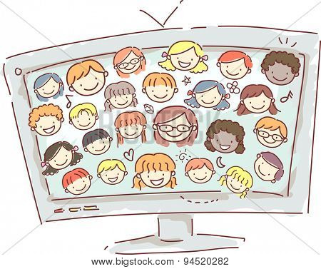 Doodle Illustration of a Computer Monitor Displaying the Faces of Little Kids