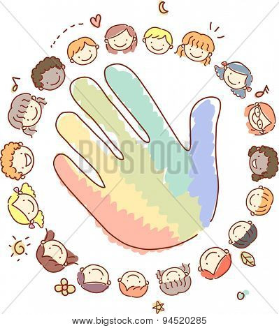 Doodle Illustration of Kids Surrounding a Hand Painted with Different Colors