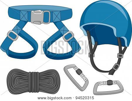 Illustration of Typical Safety Gear Used in Dangerous Activities