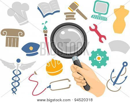 Illustration of a Magnifying Glass Hovering Above Icons of Different Academic Disciplines