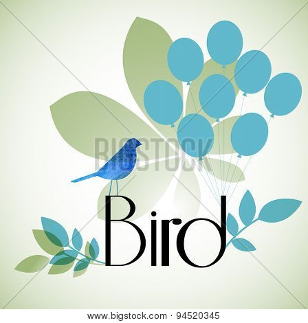 bird with balloons leaves