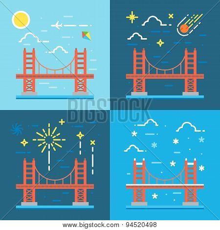 Bridge, Golden, Gate, Vector, San, Francisco, Illustration, Red, Usa, Travel, City, Bay, America, Ar