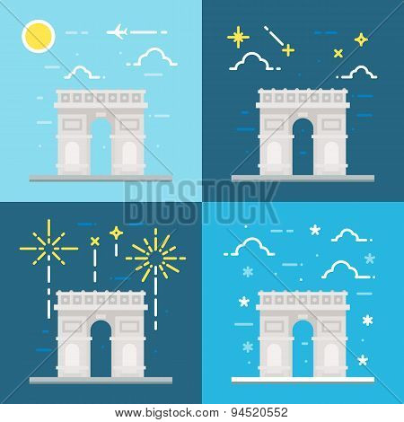 Flat Design Of Arc De Triomphe France