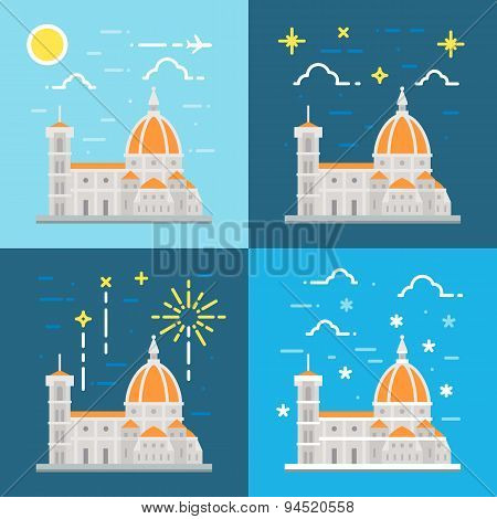 Flat Design Of Cathedral Of Florence Italy
