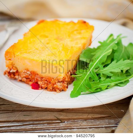 A Slice Of Potato, Pumpkin And Tomato Minced Meat Bake