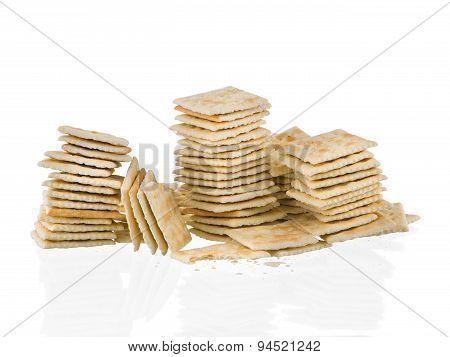 Soda Crackers Stacks Half eaten Isolated On White Background