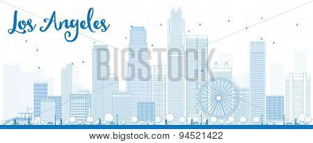 Outline Los Angeles Skyline with Blue Buildings. Vector Illustration