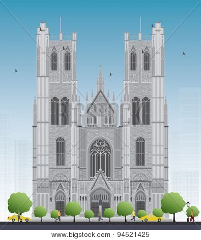 Tall building of the Cathedral of St Michael and St Gudula in the center of Brussels, Belgium. Vector illustration