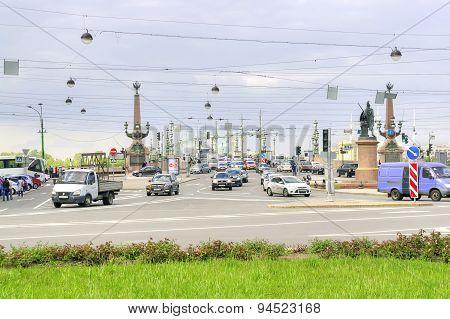 Saint Petersburg. Trinity Bridge And The Suvorov Square