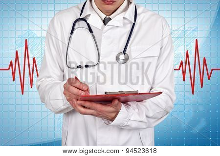 Doctor Writes Diagnosis In Folder