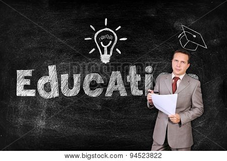 Businessman Thinking About Education