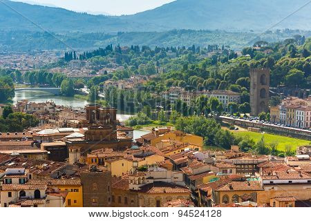 City rooftops and river Arno in Florence, Italy