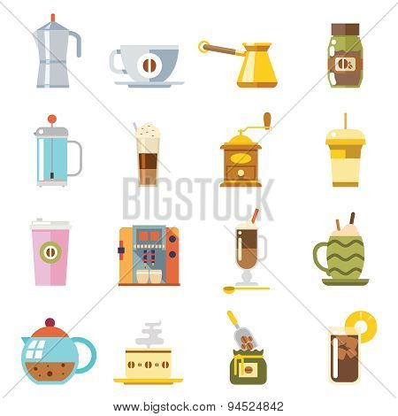 Appliances to Make Coffee Accessories Cup Glass Pot Spoon Icons Isolated Set Vector Illustration