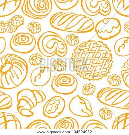 Bake bakery. Baking. Vector seamless illustration (background).
