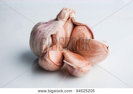 Open garlic on white