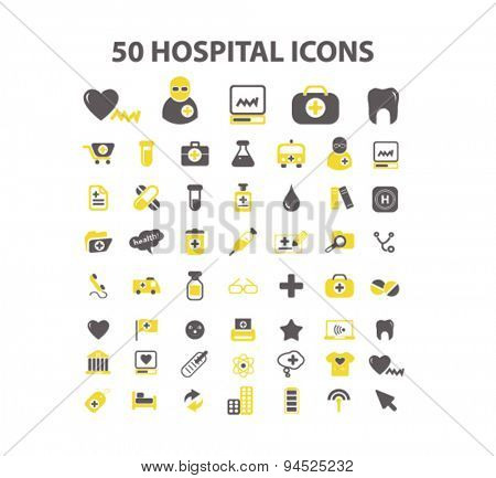 50 hospital isolated icons, signs, illustrations for web, internet, mobile application, vector