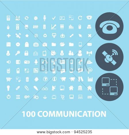 100 communication isolated icons, signs, illustrations for web, internet, mobile application, vector