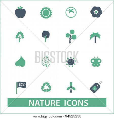 nature, ecology, environment isolated icons, signs, illustrations on white background for website, internet, mobile application, vector