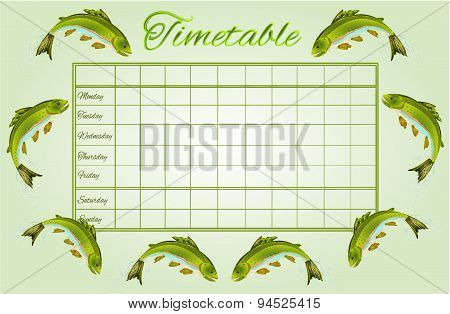 Timetable Rainbow Trout Vector
