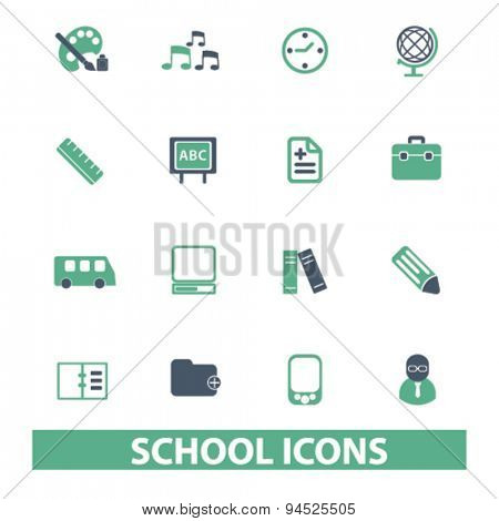 school, education, learning isolated icons, signs, illustrations on white background for website, internet, mobile application, vector