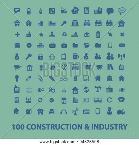 construction, industry, real estate, house isolated icons, signs, illustrations on white background for website, internet, mobile application, vector