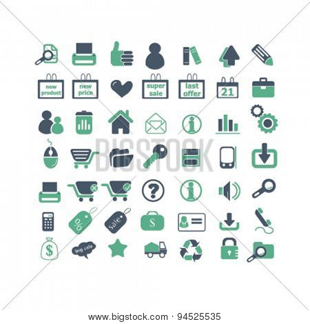 shop, retail, store, ecommerce, isolated icons, signs, illustrations on white background for website, internet, mobile application, vector