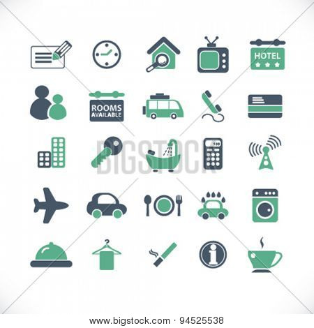 hotel, motel isolated icons, signs, illustrations on white background for website, internet, mobile application, vector