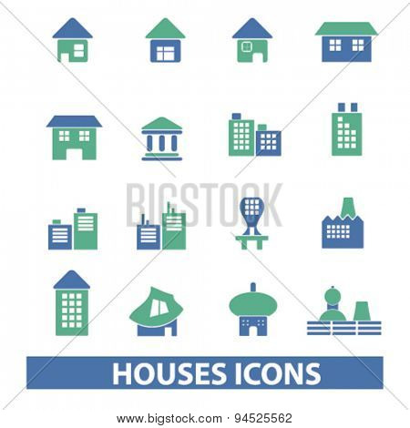 houses, buildings isolated icons, signs, illustrations on white background for website, internet, mobile application, vector
