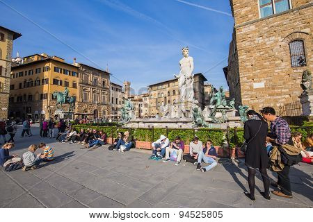 Piazza Della Signoria Of Florence In Tuscany, Italy