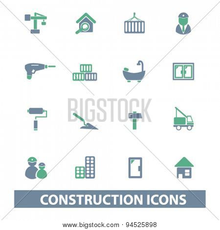 construction isolated icons, signs, illustrations on white background for website, internet, mobile application, vector