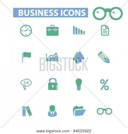 business, consulting isolated icons, signs, illustrations on white background for website, internet, mobile application, vector