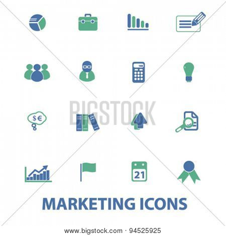 marketing, management, presentation isolated icons, signs, illustrations on white background for website, internet, mobile application, vector