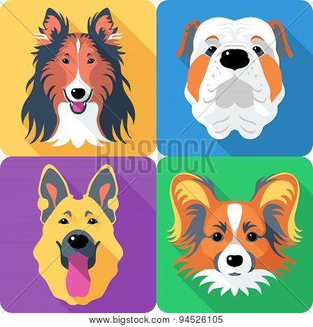 Set of 4 dog head icons flat design