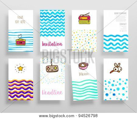 Set of Trendy Posters with Watercolor Patterns. Modern Hipster Style for Invitation, Business Contemporary Design. Labels for Logo Design. Hand Drawn Elements for Placards, Flyers, Menu or Invitations