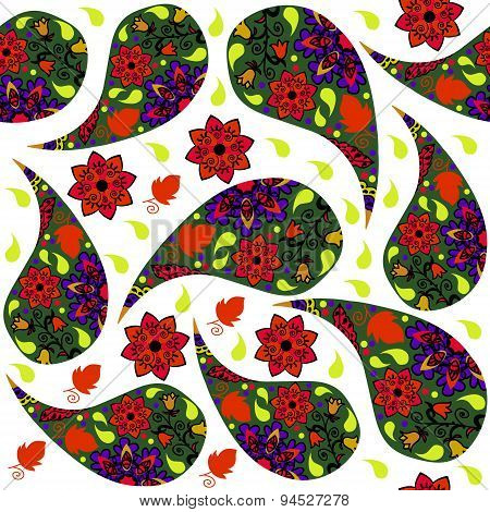 Colorful Paisley Seamless Pattern And Seamless Pattern In Swatch Menu, Vector. Cute Texture For Desi
