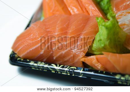 Slices Of Raw Salmon Shashimi Closeup