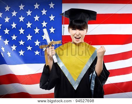 Happy Female Asian Student With Usa Flag Background
